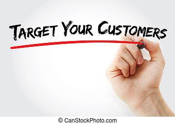 顧客, 手, ターゲット, あなたの, 執筆