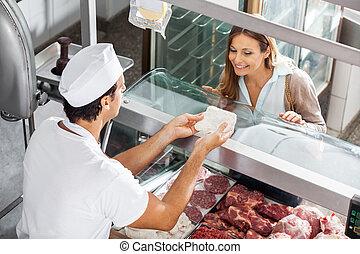 顧客, 提示, 屠殺場, 肉, 肉屋