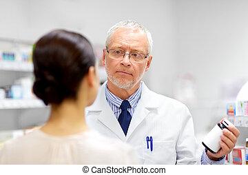 顧客, 提示, 薬剤師, 薬, 薬局