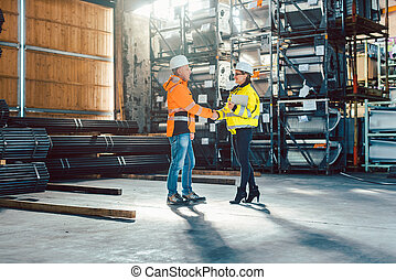顧客, 握手, 倉庫, 労働者