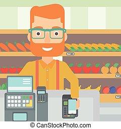 顧客, 支払う, 彼の, terminal., smartphone, 使うこと