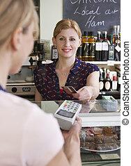 顧客, 支払う, 買い物, デリカテッセン, クレジットカード