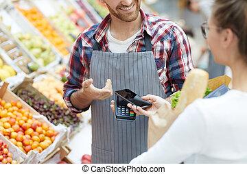 顧客, 支払う, smartphone, スーパーマーケット