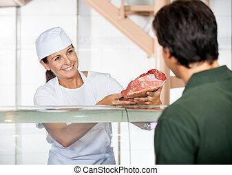 顧客, 新たに, 販売, 肉, 肉屋
