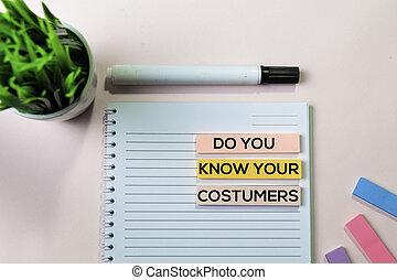 顧客, 概念, オフィス, テキスト, メモ, 付せん, 知りなさい, 机, あなたの