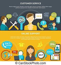 顧客, 水平なバナー, サービス