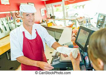 顧客, 渡ること, 肉屋, パッケージ