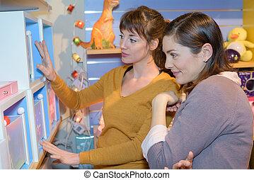 顧客, 玩具, 有吸引力, 商店, 賣主