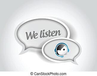 顧客, 私達, サポート, イラスト, 泡, 聞きなさい