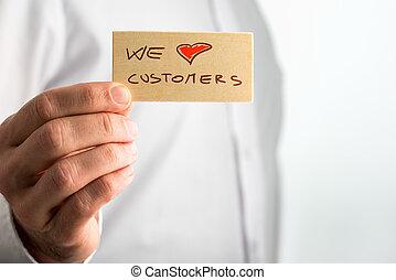 顧客, 私達, 愛, 手の 保有物, signage, 小さい