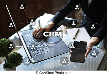顧客, 管理, サービス, 関係, concept., crm.