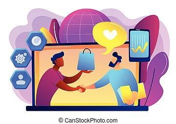 顧客, 管理, illustration., 関係, ベクトル, 概念