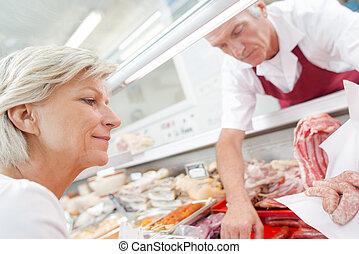 顧客, 給仕, ソーセージ, 肉屋