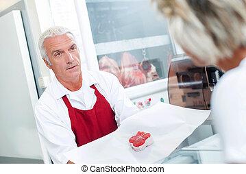 顧客, 給仕, 肉屋