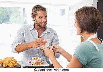 顧客, 給仕, barista, かなり, 幸せ