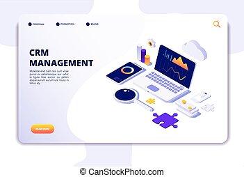 顧客, 網, 等大, 関係, データベース, solution., concept., システム, 着陸, ページ, management., crm