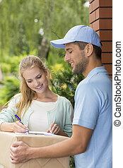顧客, 署名, 形態, 急使, 出産, 専門家