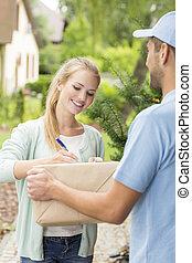 顧客, 署名, 形態, 急使, 若い, 出産, 専門家, 幸せ