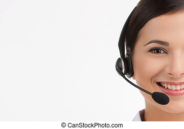 顧客, 耳機, 服務, 快樂, 年輕, 被隔离, representative., 當時, 照像機, 代表, 女性,...