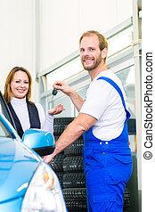 顧客, 自動車, ワークショップ, 機械工, 自動車