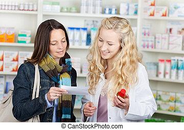 顧客, 藥劑師, 紙, 指示, 閱讀