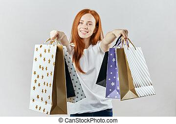 顧客, 袋子, 女推銷員, 購物, 給