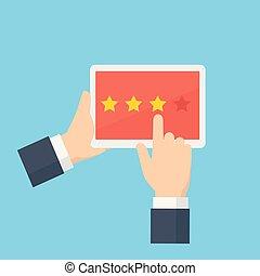 顧客, 評価, 概念, 星, フィードバック, 人々, 寄付, タブレット, 手, ユーザー, レビュー, 評価
