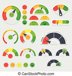 顧客, 評価, 表示器, ベクトル, 感情である, 感情, 満足, クライアント, icons.