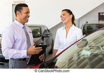 顧客, 話し, 自動車, 中年層, セールスマン