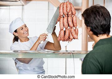 顧客, 販売, ソーセージ, 肉屋, マレ