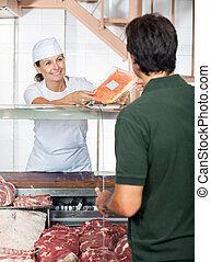 顧客, 販売, マレ, 肉, 肉屋
