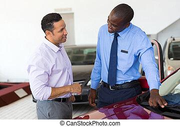 顧客, 販売, 自動車, 年齢, 中央の, アフリカ, セールスマン