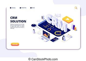 顧客, 関係, ビジネス, solution., concept., システムをサポートしなさい, 着陸, クライアント, ページ, management., crm