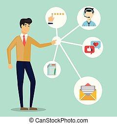 顧客, 顧客, 関係, 相互作用, 管理する, -, システム, イラスト, 流れ, ベクトル, 未来, management.