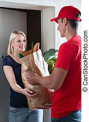 顧客, 食料雑貨, 寄付, 出産, 袋, 女性, 人
