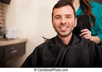 顧客, 髪サロン, 幸せ