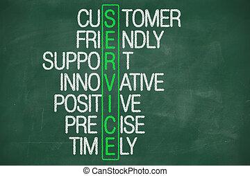 顧客, 黒板, 概念, サービス