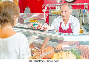 顧客, deli, 給仕, 肉屋, カウンター