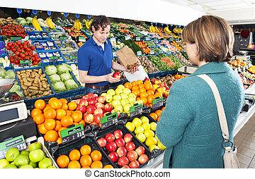 顧客, greengrocer, 給仕