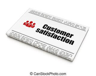 顧客, render, ビジネス 人々, 見出し, 満足, 背景, 広告, 新聞, ニュース, 白, アイコン, ...