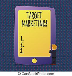 顧客, segmentation, 概念, marketing., ターゲット, テキスト, 意味, 聴衆, 目標とすること, 手書き, selection., 市場