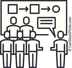 顧客, segmentation, 線である, イラスト, concept., シンボル, ベクトル, 線, 印, アイコン