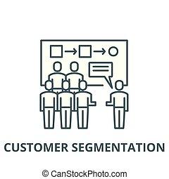 顧客, segmentation, 線である, 概念, シンボル, 印, ベクトル, アイコン, 線, アウトライン