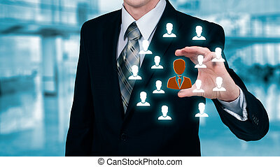 顧客, segmentation, 資源, concepts., マーケティング, 管理しなさい, 代理店, 従業員, team., 彼の, 人間, 心配, 保険, 雇用, リーダー, 心配