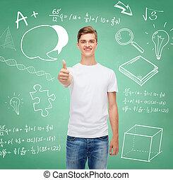顯示, 向上, t恤衫, 拇指, 微笑, 白色, 人