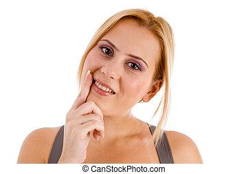 顯示, 婦女, 她, 牙齒