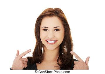 顯示, 婦女, 年輕, 她, 牙齒