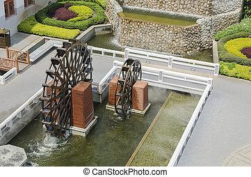 顶端察看, 在中, waterwheel, 在中, 花园