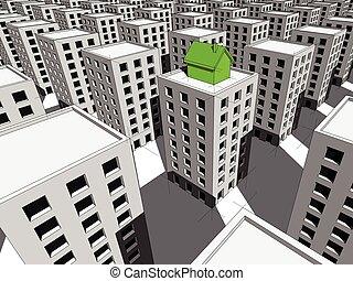 顶端, 公寓, 块, 房子