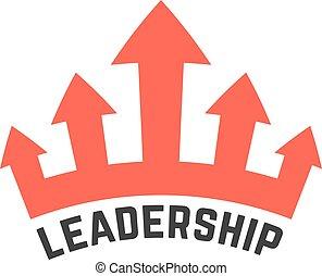 领导, 王冠, 红, 图标
